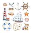 Set of a watercolor nautical illustrations - 74157167