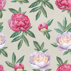 Watercolor peony flowers. Seamless pattern