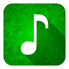 music flat icon, christmas button, note sign
