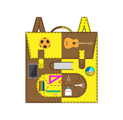School bag with accessories