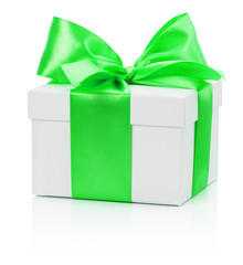 white gift box with green bow isolated on the white background