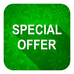 special offer flat icon, christmas button