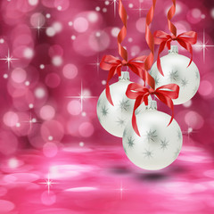 white Christmas balls on the pink background