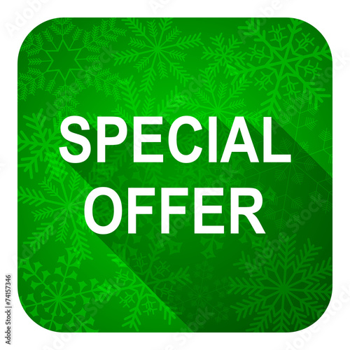canvas print picture special offer flat icon, christmas button