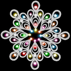 background with snowflakes made of precious stones