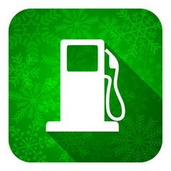 petrol flat icon, christmas button, gas station sign