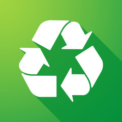 recycle sign long shadow icon