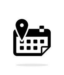 Calendar with location simple icon on white background.