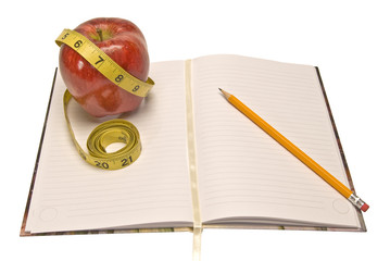 Weight Loss Journal With Tape Measure and Apple