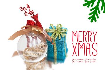 christmas background with gift box, christmas deer and ball