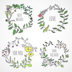 Lovely hand drawn floral wreaths
