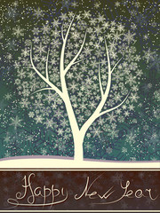 Winter greeting card of snowfall with snow tree.