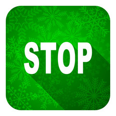 stop flat icon, christmas button