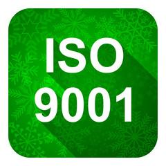 iso 9001 flat icon, christmas button