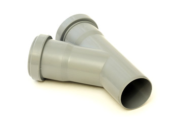 New grey drain pipe, isolated on a white background