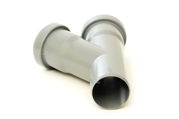 New grey drain pipe, isolated on white background