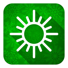 sun flat icon, christmas button, waether forecast sign