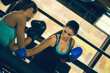Two Female Boxers At Training