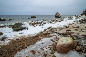 Baltic Sea coast in winter cloudy weather