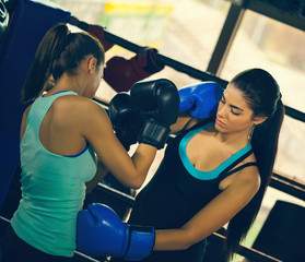 Two Young Female Boxers At Training