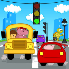 transport traffic in city - vector illustration, eps