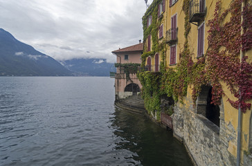 Old houses near the water. Lake Como, Italy.