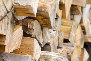 Stacked split firewood close up