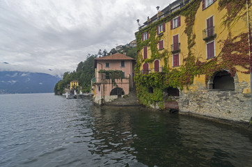 Lake Como, Italy. Old houses built right on the water.