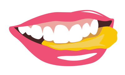 Female mouth eating chips