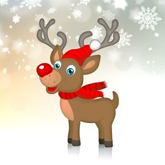 cute christmas reindeer isolated on white