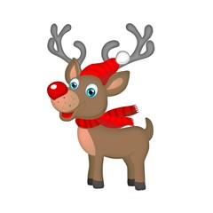 xmas reindeer with red scarf and cap on snowflakes background