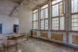 Demolished room with wooden floor
