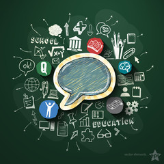 Education collage with icons on blackboard