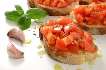 Bruschetta with tomato and extra virgin olive