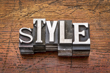 style word in  metal type