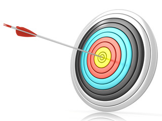 Archery target with one arrow in the center, isolated on white b