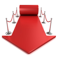 Red carpet arrow, isolated on white, 3D render front view