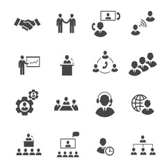 Business people online meeting strategic pictograms set of