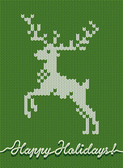 Holidays knitted card or background with a deer