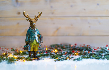 Deer standing in christmas decoration