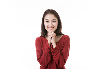 Portrait beautiful Asian Girl with white background