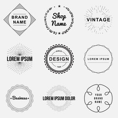 Set of retro vintage badges and label logo graphics, circles