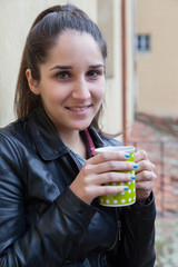 Portrait woman - Hipster drinking from a cup
