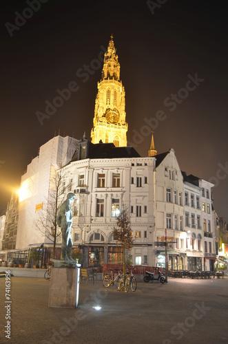 Keuken foto achterwand Antwerpen illuminated main square in belgian antwerp