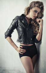 Vogue style portrait of blond lady