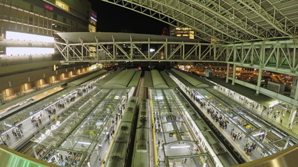 Timelapse video of trains and commuters in a railway station