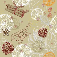 Doodle background with citrus, bird and snowflakes, seamless pat