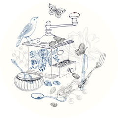 Doodle background with coffee mill, flowers and birds