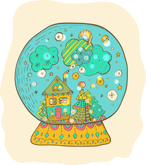 Snowglobe with decorated xmas town
