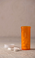 White Pills for Drug Abuse Concept